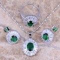 Fantástico Criado Verde Esmeralda Branco Topázio Jóias de Prata Conjuntos Brincos Pingente Tamanho do anel 6/7/8/9/10 S0117