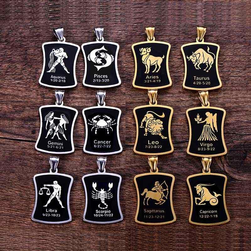 Moda 12 konstelacji wisiorek naszyjnik dla kobiet mężczyzn w stylu ze stali nierdzewnej kwadratowe okrągłe Popcorn naszyjnik łańcuch biżuteria punkowa