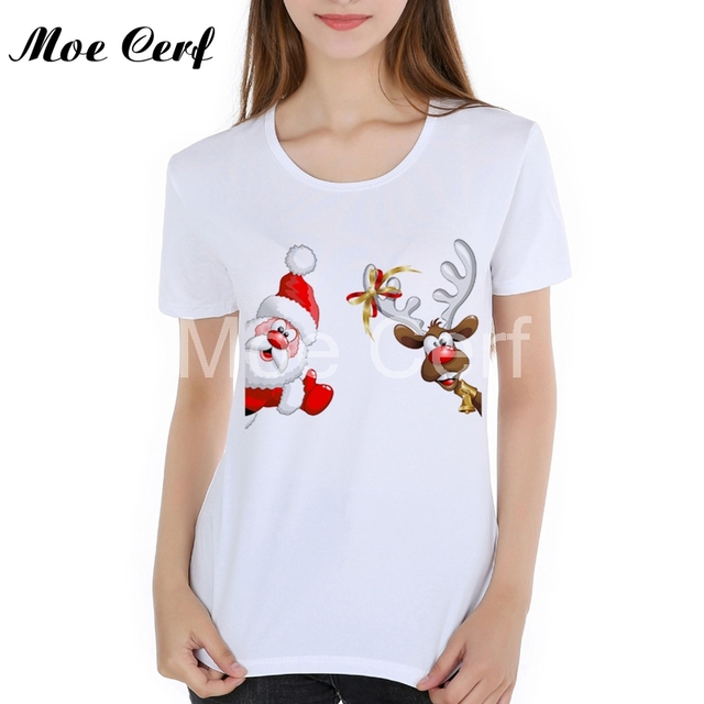 bd3bf3bd3 Funny Christmas Tops Tees Cotton Women's T Shirts Hip Retro Santa Claus Christmas  Believe Santa High