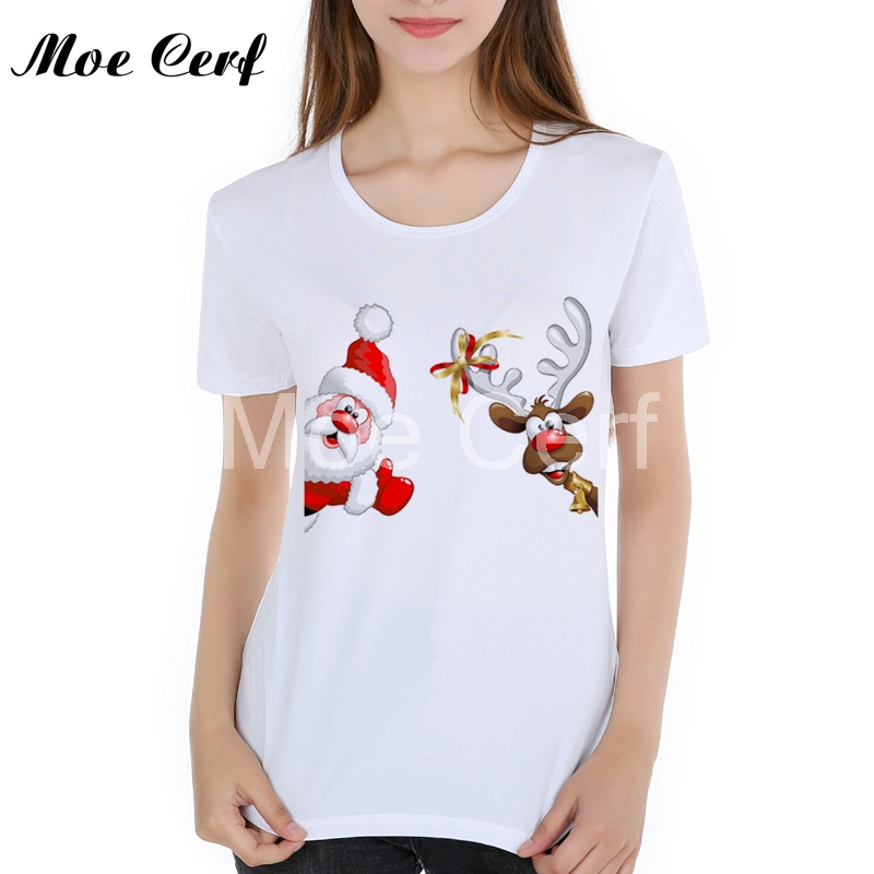 Funny Christmas Tops Tees Cotton Womens T Shirts Hip Retro Santa Claus Christmas Believe Santa High Quality T Shirts 46-30#