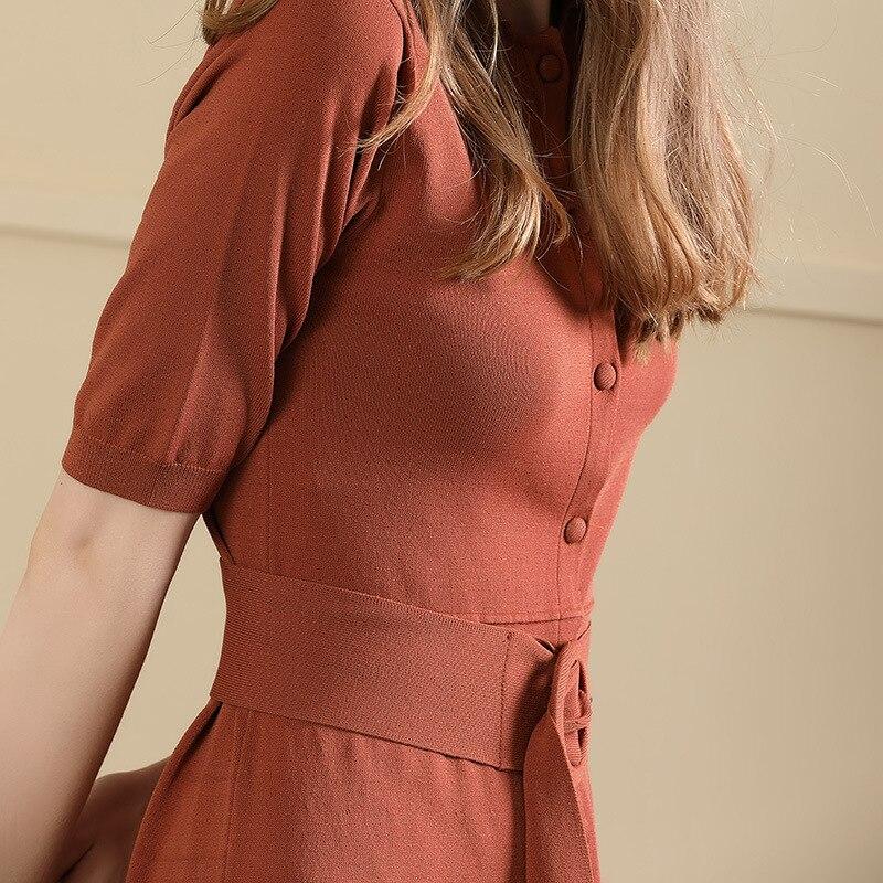 Supérieure Pull 2019 Dress Qualité Tricoté Été Dress Élégante black Couleur Robe Style Caramel Courtes Solide Femmes Printemps Nouveau Slim Manches Dames zqdfWwqc