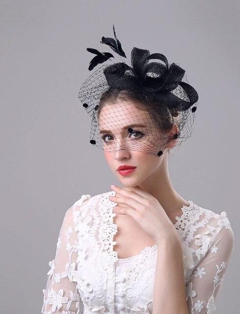 2017 Wedding Hats For Women Vintage Net Bridal Hats Black Wedding Headdresses Brides Fascinator Sinamay Wedding Birdcage Veil