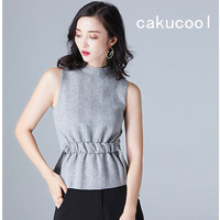 Cakucoolผู้หญิงท็อปส์ซูถังถักลายO-คอฤดูร้อนยกทรงลายบางสุดหรูหราOLสไตล์เกาหลีผู้หญิงถักถัง