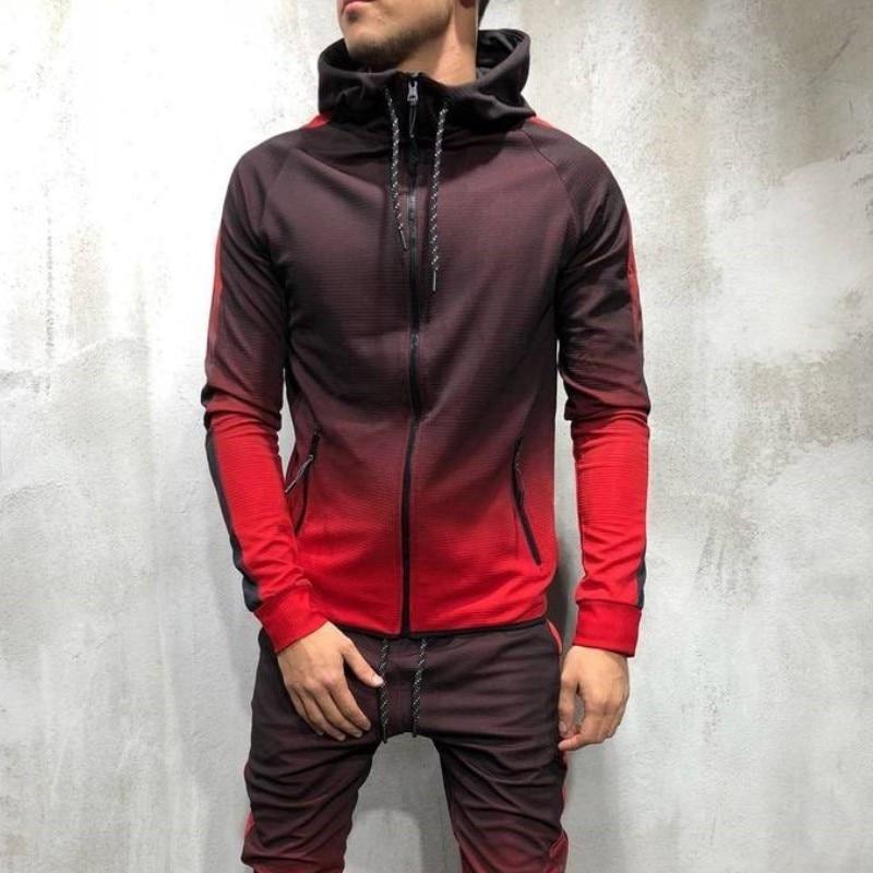 ZOGAA Men Tracksuit Sportswear Two Piece Set Mens Casual Hooded Sweatshirts And Pants Sportswaer 2 Piece Sweat Suit Set Man