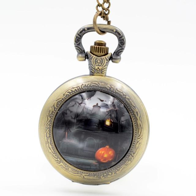 Halloween Pumpkin Black Castle Quartz Pocket Watch Pendant ...