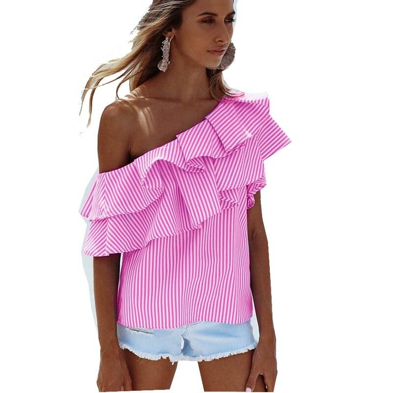 New 2018 Womens Summer Ruffles Slash Neck Off The Shoulder Female T-shirts T-shirt T shirt For Women Tee Shirt Femme Tops 34