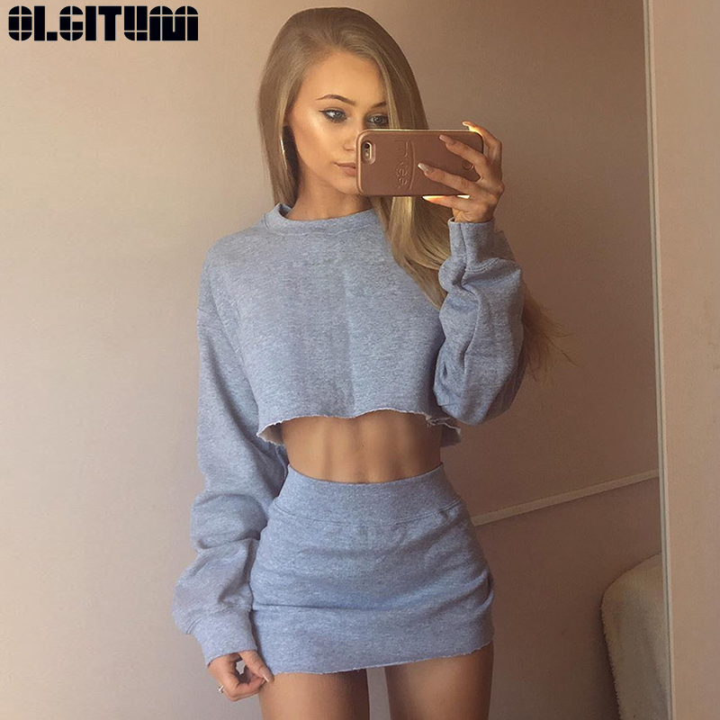 Fashion Women Two Piece Set Summer Female Crop Top And Skirt Set Long sleeve Two Piece Women Outfits Matching Sets WS139