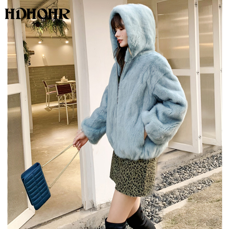 HDHOHR 2019 New Real Mink Fur Coat Women Short Fashion High Grade Mink Coat Multiple Colour Real Mink Fur Jackets With Hat