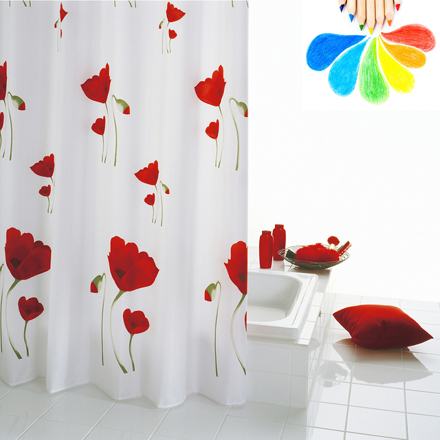 Shower Curtain Red White Flowers Polyester Fabric Modern USA And Europe  Style BathRoom Girl Love Bath