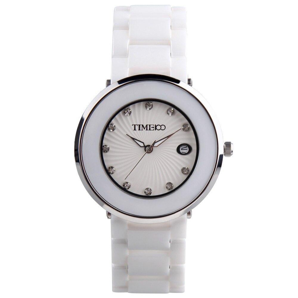 ФОТО New Arrival Time100 Fashion Luxury Ladies Jewelry Ceramic Strap Dress Calendar Rhinestone Bracelet Women Quartz Watches#W50181L