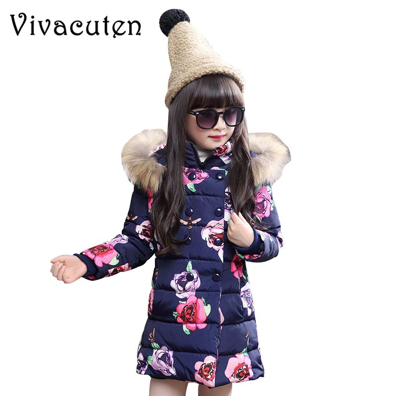 Fashion Children's Parka Coat Winter Jacket For Girls Floral Printed Kids Thicken Warm Fur Collar Hooded Outwear Teens Overcoat mcckle winter jacket with fur collar hooded cotton padded long puffer coat outwear women fashion thickening warm parka overcoat