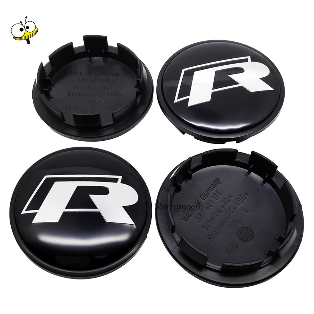 Car Styling Emblem For Rline VW Volkswagen Polo Golf Polo Beetle Touran Touareg Scirocco Wheel Center Cap Sticker Hub Cap Decal car styling wheel center hub caps wheel sticker emblem for cross logo for corvette mazda 3 silverado dodge ram vw golf clio benz