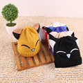 2016 Autumn Winter Outdoor Children Hat Kids Cute Cartoon Smiling Cat Ears Knitted Hats And Caps Thicken Warm For Baby Girls