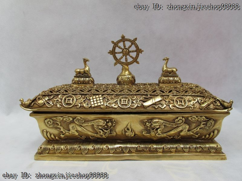 Do Old Retro Antique Retro Bronze Factory Outlets Tibetan Brass Eight Treasures Two Deer Tibet Classic Incense Burner