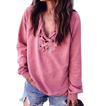 Casual Hoodie Cute Pink Cross Bandage V neck Thin Pullover Long-Sleeve Casual Hoodies Sweashirt  Winter Track Tops LF79