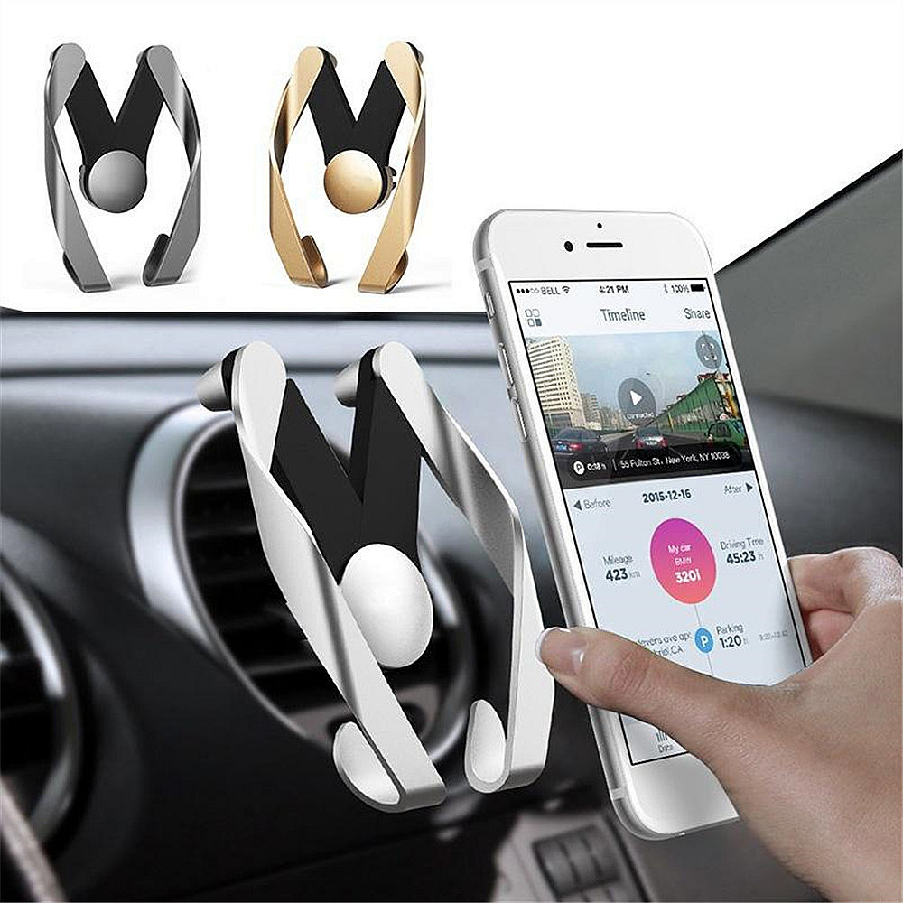 JUSFYU Gravity Car Phone Holder Universal Smart Phone Grip  Air Vent Mobile Phone Holder Bracket For iPhone X Xiaomi mi8 Samsung mobile phone
