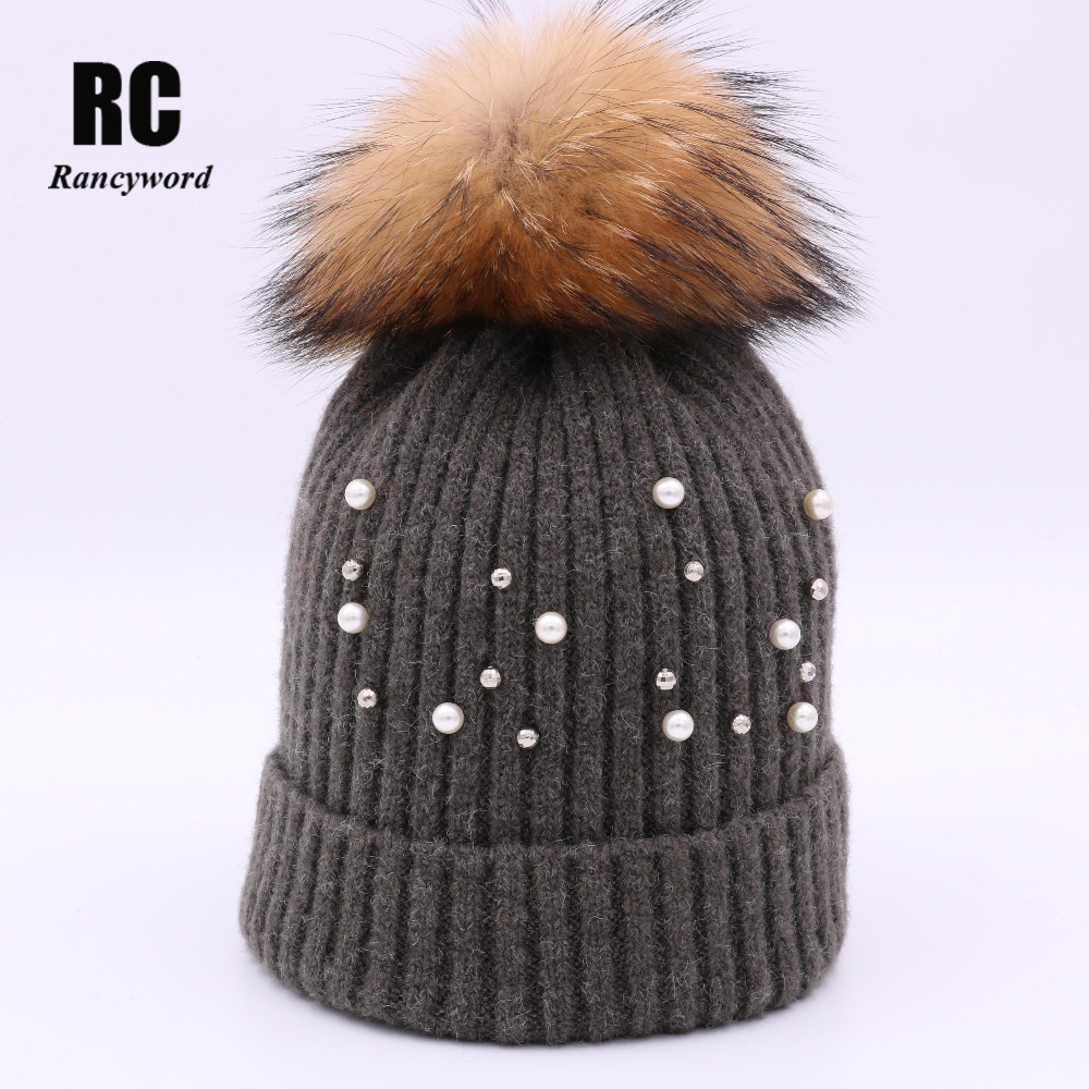 [Rancyword] New Knitted Fur Ball Beanies Winter Warm Hats For Women Hat Wool Skullies Pearl Hat Real Raccoon Fur Has Lady RC1213 2016 new beautiful colorful ball warm winter beanies women caps casual sweet knitted hats for women outdoor travel free shipping