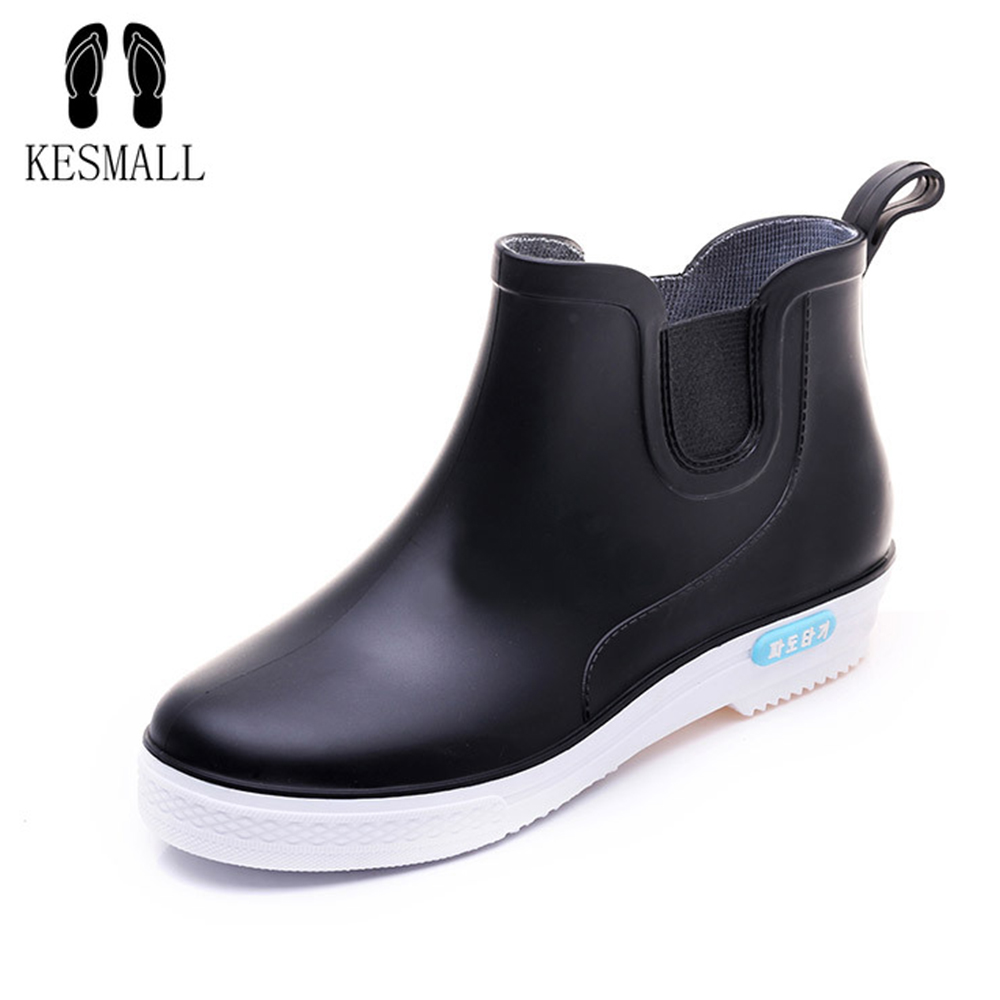 KESMALL Men Rubber Rain Boots Fashion Black Chelsea Boots Casual Lovers Botas Slip-On Waterproof Ankle Boots Moccasins WS474KESMALL Men Rubber Rain Boots Fashion Black Chelsea Boots Casual Lovers Botas Slip-On Waterproof Ankle Boots Moccasins WS474