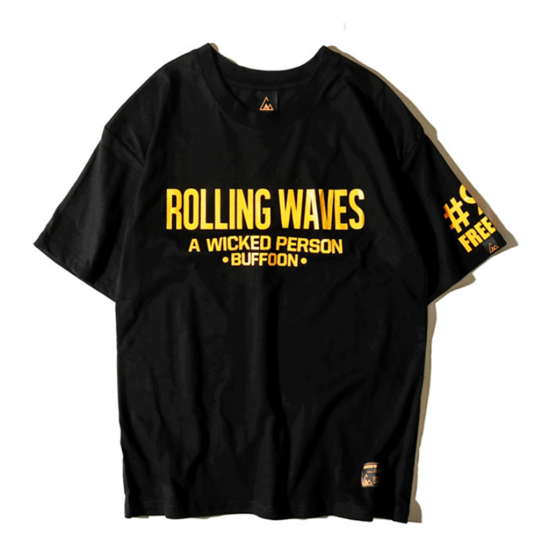 Wave Printed Short sleeved T shirt Men Original Street Hip Hop Loose Harajuku Three color Mens Fashion Causal Cotton Tops Tee in T Shirts from Men 39 s Clothing