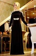 Fancy Lace Dubai Abaya Longos Vestidos De Noite Velvet A Line Long Formal Dresses Long Sleeve Muslim Evening Gowns With Hijab