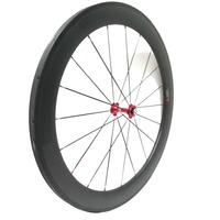 Одна пара 60 мм глубина углерода велосипед катки трубчатые красный Новатек 271/372 концентратор продать NGT Углерода Индивидуальные велосипед