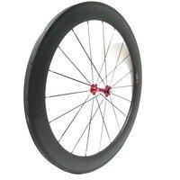 One pair 60mm depth carbon bike road wheels tubular red novatec 271/372 hub sell NGT carbon customized bike