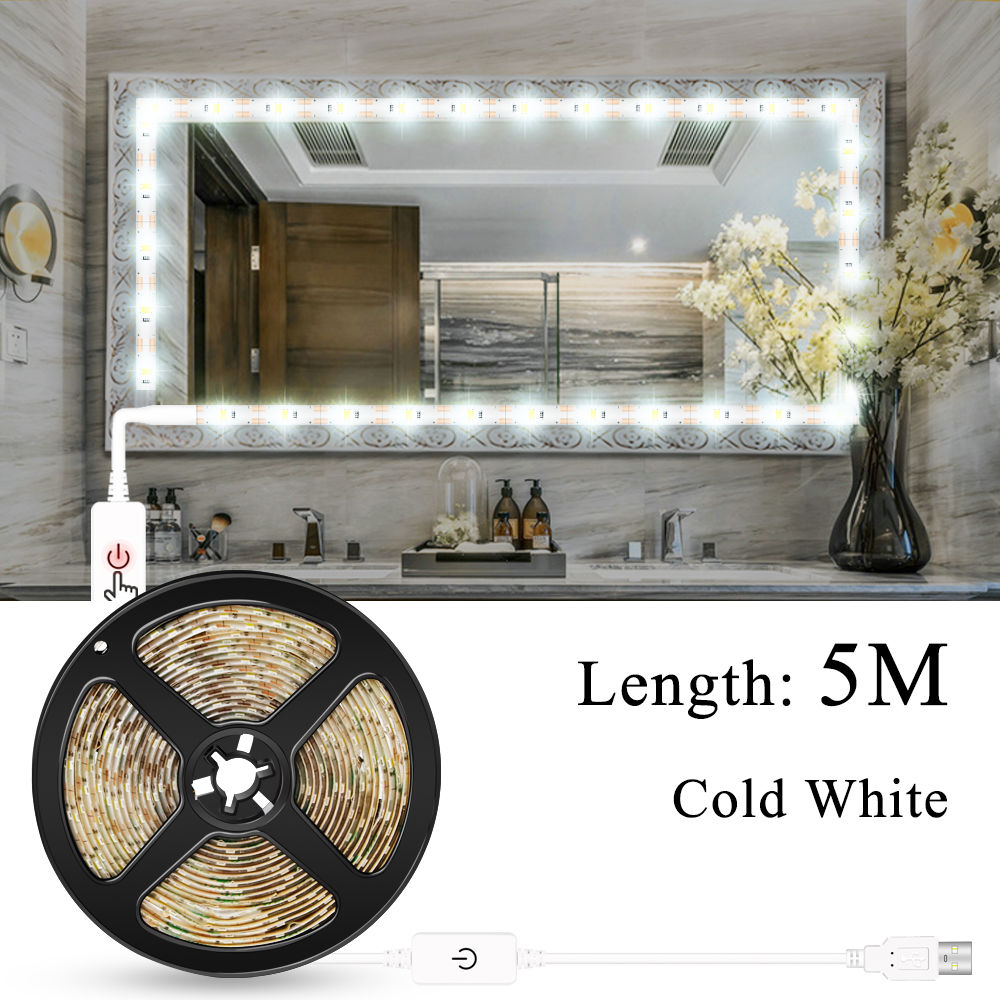 Makeup Vanity Mirror Light Strip Led USB Cable 5V Dimmable Dressing Table Lamp Tape Bathroom Make Up Cosmetic Mirror Lights Kit 1
