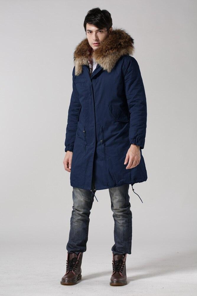 2015 Hiver Bleu Raton Outwear Garniture Grande Laveur Parka De Collier Mode Doublé Taille Avec Naturel Fourrure En Froid Haute Fausse noir Nouveau RxAXFwt