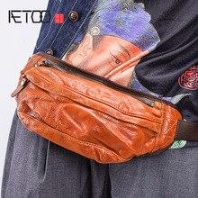 AETOO Sports Crossbody bag male retro casual leather waist packs multifunctional shoulder