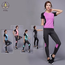 New Women Yoga Set Shirt Skinny Pants Running Jogging Workout Fitness Gym Leggings Sports Clothes Striped