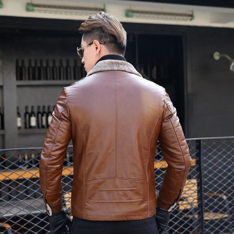 Cuero de los hombres de moda casual más terciopelo grueso invierno de mediana edad hombres de cuero breve párrafo chaqueta de cuero solapas 2019 - 3