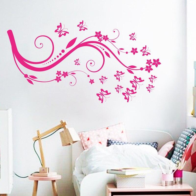 Art Beautiful Design Home Decoration Vinyl Butterfly Flower Wall