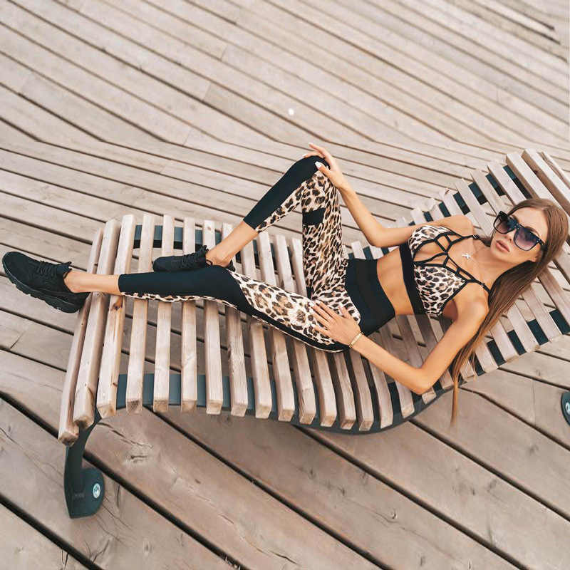 c70727225834 ... Women Sexy Leopard Women Set for Fitness Two Pieces Set Leopard  Tracksuit Crop Top and Leggings
