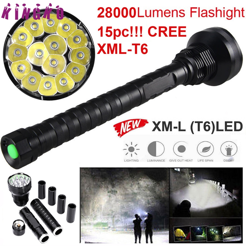 High Quality 28000LM 15x XML T6 LED Flashlight 5 Modes Torch 26650/18650 Camping Lamp Light цены