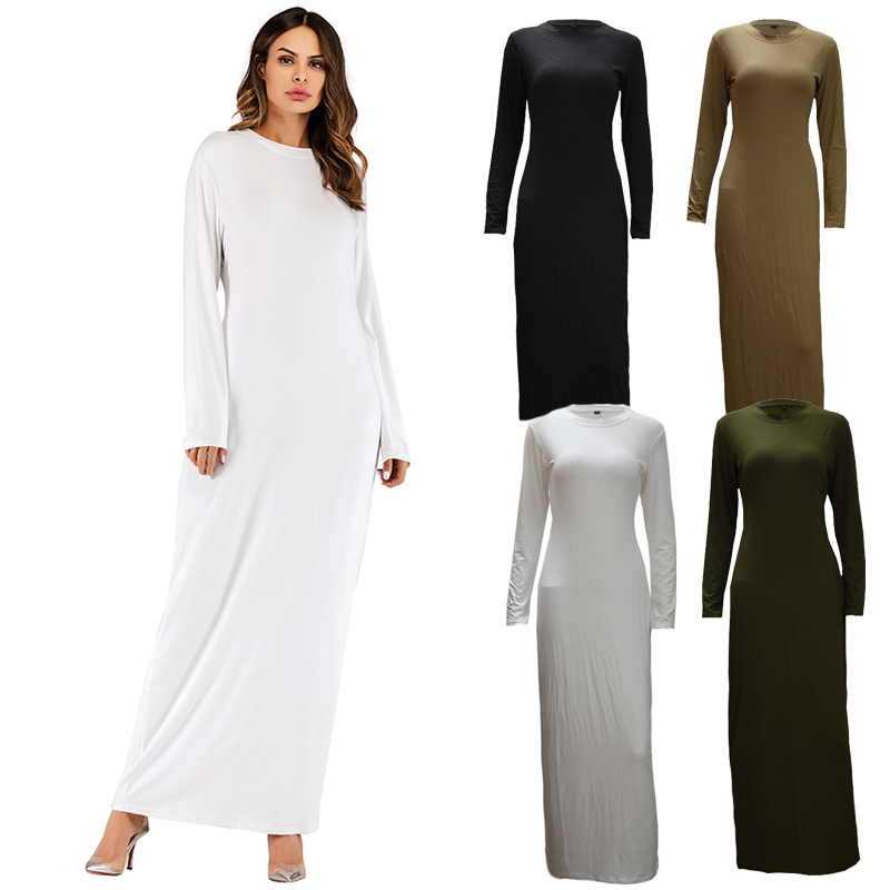 f2ae1eb6a4 2019 Underwear Cotton Long Abaya Arabic Kaftan Qatar Islam Muslim Hijab  Dress Abayas For Women Dubai Turkish Islamic Clothing