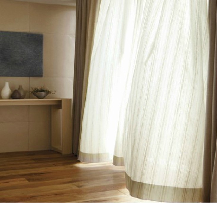 (270cm HIgh) American Country Style Stripe Flocking Special High Grade White  Cotton Curtains