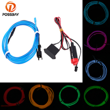 4m car led strips auto decoration atmosphere lamp 12v flexible neon el wire rope indoor interior led car light POSSBAY 4M Car 12V LED Strip Lights Flexible Neon EL Wire Universal Interior Decoration Strip LED Car Light Strip for Car Auto