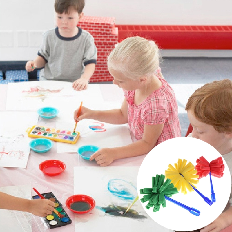 Sponge Stippler Dabber Paint Brushes Firework For Kids Creative Painting