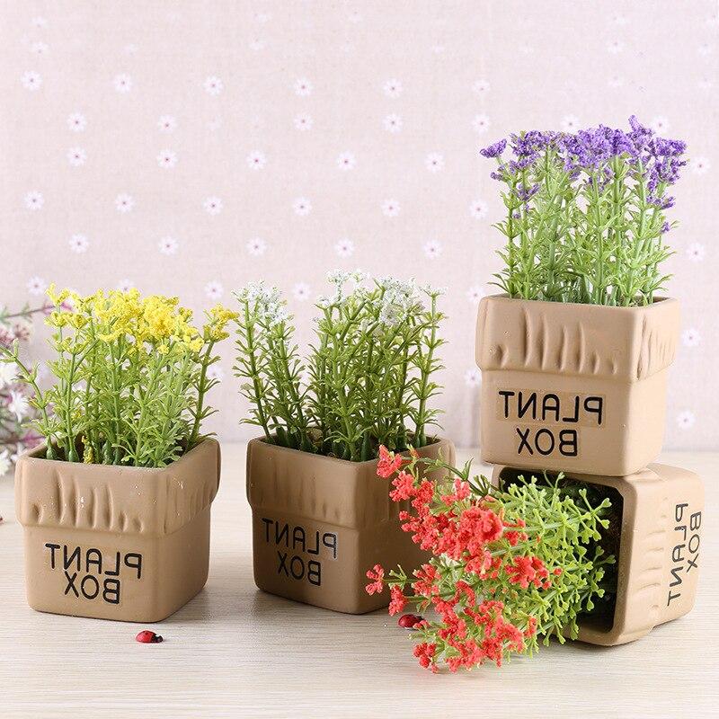1 UNID Mini Planta en maceta Artificial Espuma Mijo Flor Bonsai Decoración del H