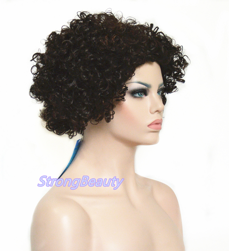African American Short Curly Hair Black With Brown Red