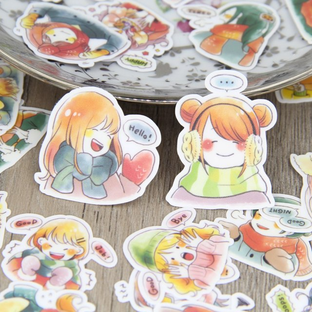 40pcs Colorful Winter Girl Cold Girls Lady Emotion Cartoon  Scrapbooking Stickers DIY Craft Decorative Sticker Pack