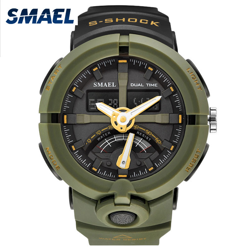 цена на SMAEL Watches Mens Dual Display Digital Wristwatches Military Sports Clock Men Electronics Analog Quartz Watch Relogio Masculino