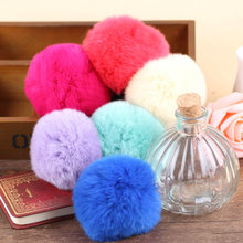 New Arrived 10pcs/lot Mix 80mm Soft Rex Single Color rabbit Hair Balls Handmade jewelry Accessories diy key/phone chain pendant