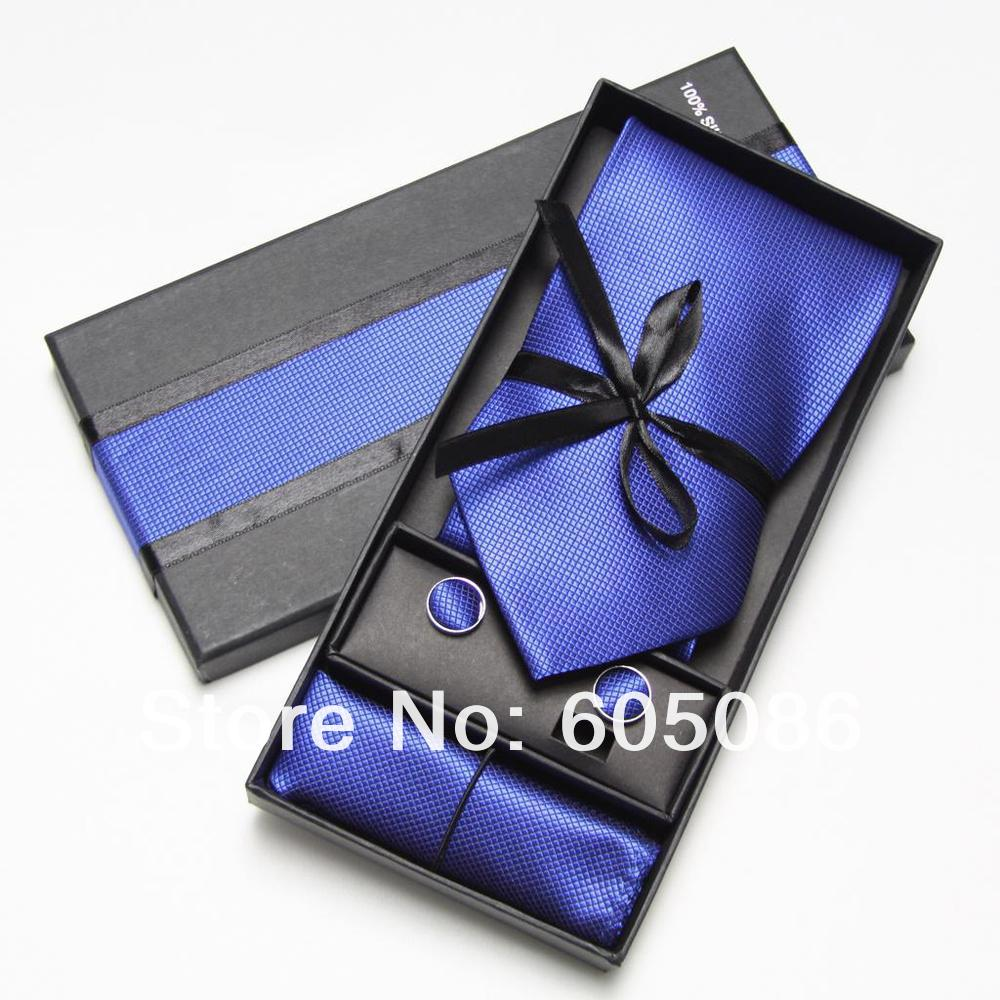 HOOYI 2019 Mens Tie And Handkerchief Set Fashion Men Ties Sets Cufflinks Hanky Pocket Square In Box Necktie Packaging