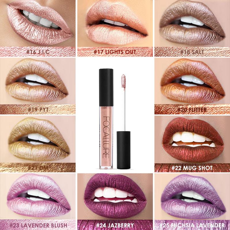 FOCALLURE Soft Matte Lip Cream Lip Gloss Chameleon Matte Lipstick Shimmer Glitter Lip Gloss Lipgloss Kit glitter lip gloss N40 2