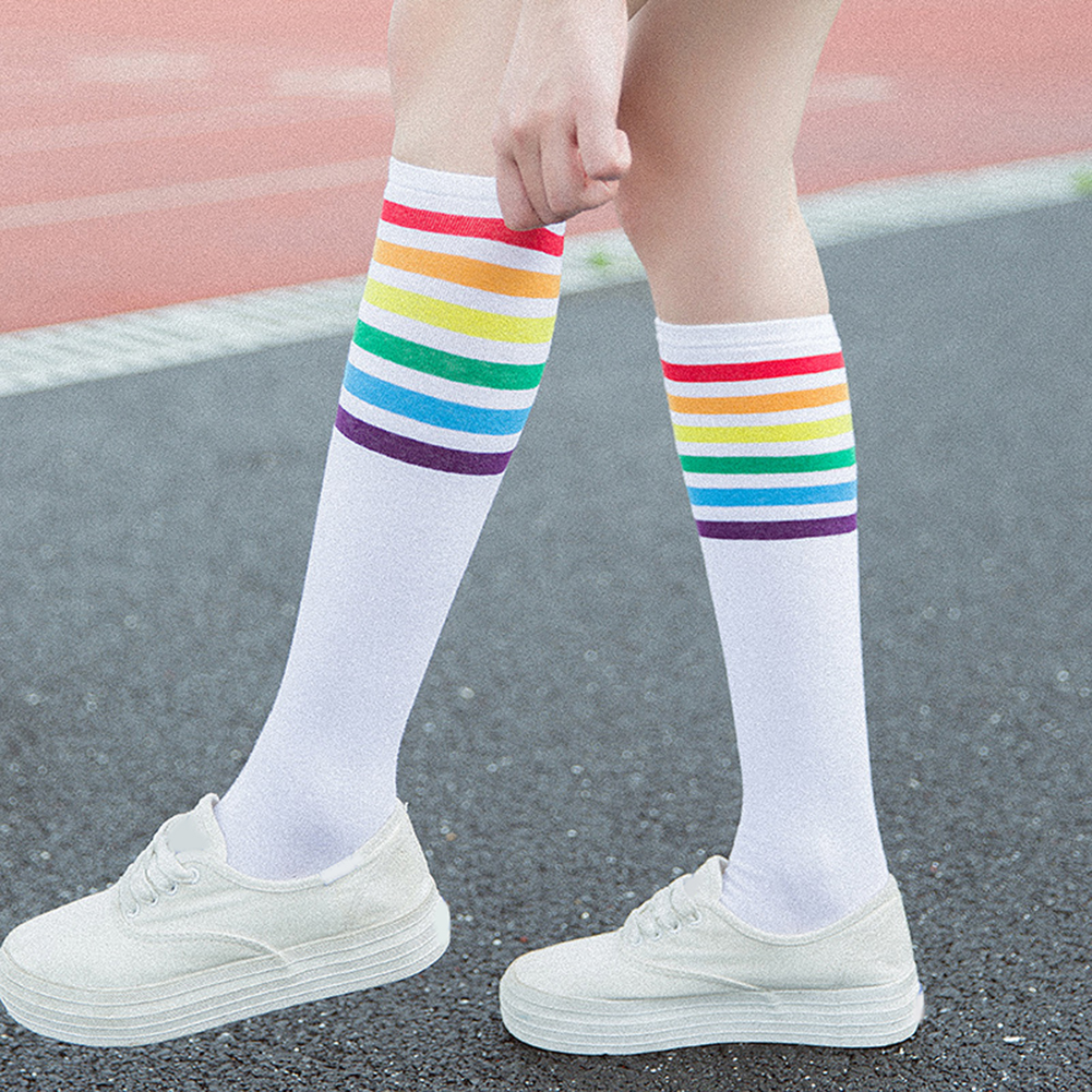 1Pair Women Black White Leg Sock 2019 Autumn Winter Thigh High Socks Rainbow Stripe Long Stocks Harajuku Hosiery