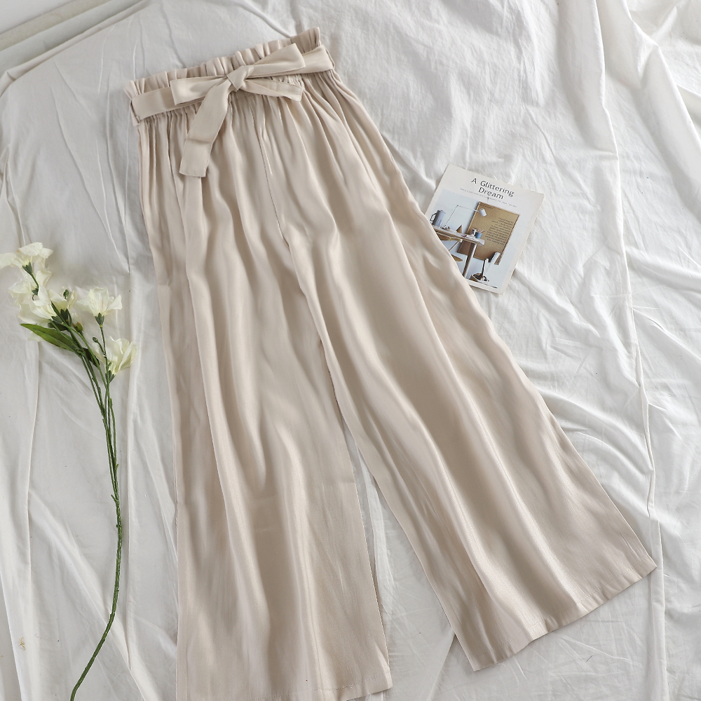 TAOVK Woman Satin Elastic High Waist   Wide     Leg     Pants   Summer Casual Loose Bow Belt Trouser