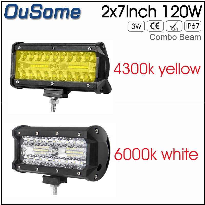 2 PIECES 7 inch 120W 4300K amber 6500K white truck auto car truck auto offroad 12v led work light 24V for JEEP цены