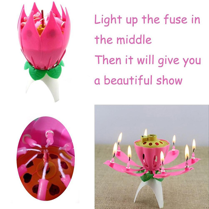 2018 Birthday Candle Romantic Music Musical Blossom Lotus Flower Pink No Revolving Sparkle Cake Topper In Candles From Home Garden On
