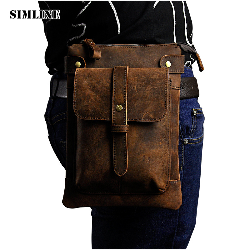 SIMLINE Vintage Casual Genuine Crazy Horse Leather Cowhide Men Mens Small Waist Pack Shoulder Messenger Crossbody Bag Bags Man simline 2017 vintage genuine crazy horse leather cowhide men men s messenger bag small shoulder crossbody bags handbags for man